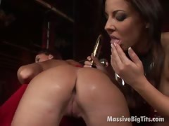 Big meloned lesbians licking and dildoing their fuckable