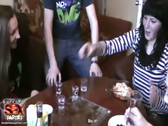 Sexy girls suck cock and fuck at a party