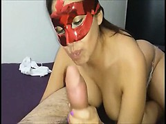 Masked latina doing blowjob