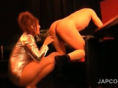 Japanese mistress rims and fucks male ass with strap-on