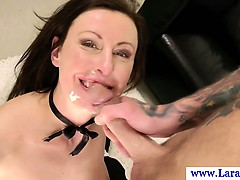 Posh glamour MILF in lingerie facialized