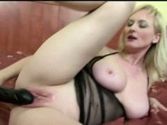 busty mature mom and her big black dildo