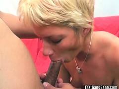 Blonde mature slut cocks banging