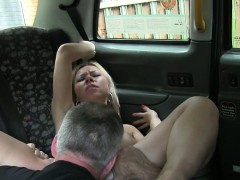 Tied up blonde fucks in fake taxi in public