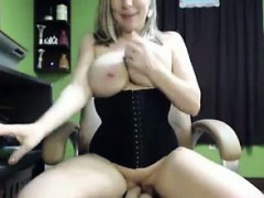 Busty big tit babe dildos her pussy
