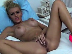 Busty tit blonde milf rubs her pussy on cam