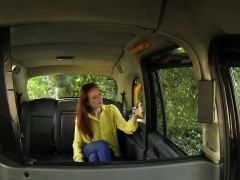 Redhead British student bangs in taxi